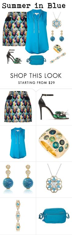 """""""Summer in blue"""" by karen-galves on Polyvore featuring Mary Katrantzou, Jimmy Choo, MICHAEL Michael Kors, Michael Valitutti and Hedgren"""