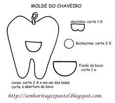 Blog do passo a passo: Dentes de feltro moldes passo a passo pap