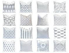 Gray Pillow Covers, Gray Pillows. Gray Cushions, Decorative Pillow Covers  Pillows  in Gray and White Mix and Match