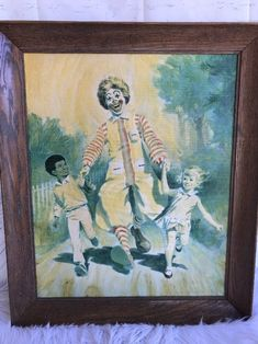 Vintage McDonald's Ronald McDonald Acrylic Painting Framed with Boy & Girl