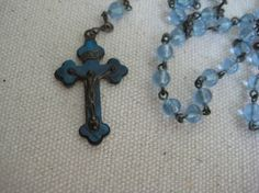 Vintage Rosary, Light Blue, Glass Rosary Beads, Vintage Religious, Antique Rosary, Reclaimed, Catholic Rosary, Authentic Vintage