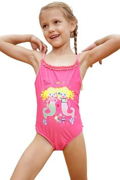 Pink Little Mermaid One Piece Swimsuit
