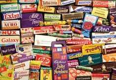 A selection of 70's sweets, I remember those smartie boxes well