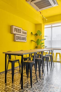 Industrial Interior Theme with Balanced Color Pops : The Expand Loft | Quirk Studio - The Architects Diary Open Pantry, Open Space Office, Aesthetic Space, Vitrified Tiles, Black And White Artwork, Neutral Colour Palette, Ikea Furniture, Industrial Style, Office Decor