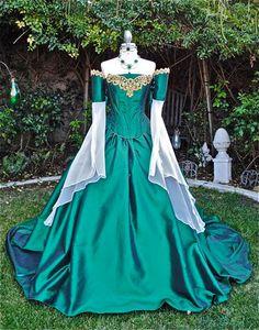Miranda Medieval Corset Gown Silk and Chiffon by RomanticThreads, $850.00