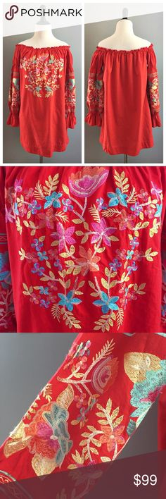 "Free People Fleur de Jour dress Beautiful NWT Free People Fleur de Jour off the shoulder dress with gathered sleeves and floral embroidery detail. Also has side pockets! Measurements (laying flat):  🔸bust (underarm to underarm)- 18"" 🔸length (top to bottom hem)- 27""  🔸arm length (shoulder to sleeve end)- 22"" Free People Dresses"