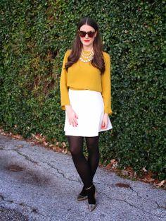 mustard blouse & Kate Spade necklace