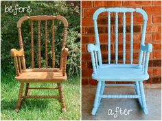 Repainted my old rocking chair from when I was a kid with a little spray paint! LOVE it!