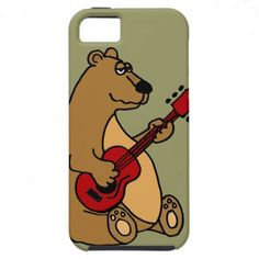 Funny Bear Playing Guitar iphone5 Case #bears #music #funny #iphone5 #case #guitar #animals #humor #zazzle #petspower