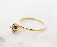 Tourmaline Ring Unique Engagement Ring 18K Diamond Ring