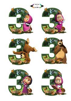 Masha and the Bear printable - Masha and the Bear Number 3 Centerpieces Masha and The Bear Cake Topper, Masha and The Bear Birthday Party Bear Birthday, 3rd Birthday Parties, Birthday Wishes, 2nd Birthday, Masha Cake, Masha Et Mishka, Marsha And The Bear, Bear Decor, Bear Party