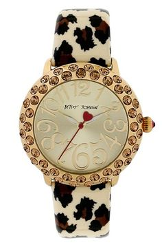 Betsey Johnson Crystal Bezel Leopard Strap Watch, 38mm available at #Nordstrom