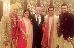 Suresh Raina with guests that included Sakshi Dhoni, actor Anuapam Kher, capain Mahendra Singh Dhoni and former India teammate Irfan Pathan
