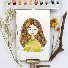 Fall is in the air and in the hair #tania_autumndraw #watercolorpainting #moleskine #moleskineart #inspiration #autumnart #september #picame #eatsleepdraw #characterdesign #character