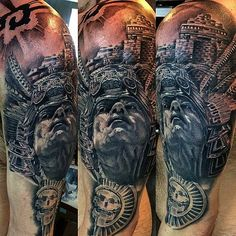 A proud Aztec warrior in realistic black and grey style, also by Luis Fernando Puedmag Vinueza. Mayan Tattoos, Inca Tattoo, Left Arm Tattoos, Full Sleeve Tattoos, 3d Tattoos For Men, Story Tattoo, Azteca Tattoo, Aztec Tattoo Designs, Aztec Culture