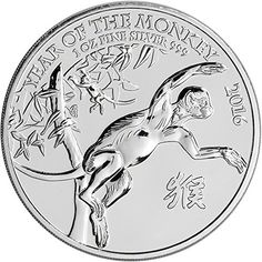 Coin: 2016 Uk Great Britain Silver Year Of The Monkey 1 Oz Brilliant Uncirculated Royal British Mint