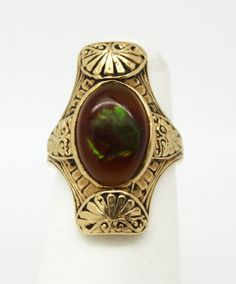 Victorian Engraved 14K & Fire Agate Ring > agate, moonstone, peridot, and primarily Sapphire - September birthstones
