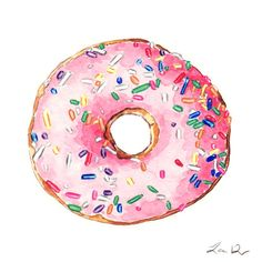 Pink+Donut+with+Sprinkles++Giclee+Print+of+от+LauraRowStudio