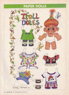 Free Vintage 1993 Troll Dolls Paper Dolls With 2 Dolls and 2 Pages of Clothing Paper Toys, Paper Crafts, History Of Paper, Women's History, Troll Party, Paper Dolls Printable, Paper Animals, Troll Dolls, Paper Artwork