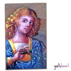 Pictura pe lemn in tehnica airbrush Mona Lisa, Artwork, Work Of Art, Auguste Rodin Artwork, Artworks, Illustrators