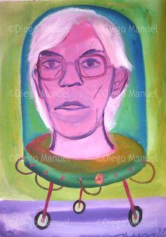 Andy Warhol en la maquina genetica duplicadora, acrylic, 43 x 61 cm. #followart #popsurrealism  By Diego Manuel