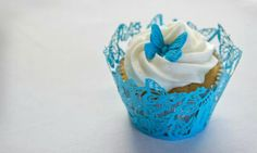 Beautiful blue butterfly cupcake