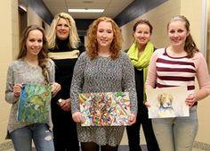 Students receive awards in Scholastic Art Awards program.