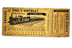 12 best train ticket invitations images on pinterest ticket all aboard train birthday invitation by lanodesignstudio on etsy filmwisefo
