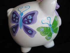 personlaized piggy bank blue purple and by andrewandelladesigns, $32.50