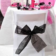 Stuhlhussen mit Schleife, Vlies (10 Stück) weiß-schwarz  Klicken Sie auf das Bild, um es in voller Größe zu sehen      Stuhlhussen mit S...