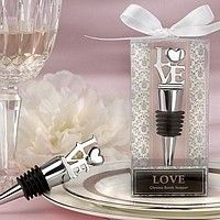 LOVE design personalized chrome wine bottle stoppers