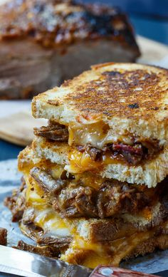 Brisket Grilled Cheese(4s)..8 slices Italian bread/Texas toast, butter, 1c heaping shredded @Cheddar+Monterey Jack, 2-3slices leftover brisket-shred..Spread butter on 1side @pc bread. Place bread buttered-side down.Cover w/Cheddar+brisket+Jack.Top w/another pc of bread, unbuttered side down. Repeat for rest of sandwiches.Heat a pan, preferably cast iron, over med heat. Cook 1-2 sandwiches at a time= golden brown(both sides)+cheese melted. Recipe by Spicy Southern Kitchen