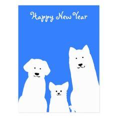 3匹の犬シルエット 年賀状(縦) POSTCARD - New Year's Eve happy new year designs party celebration Saint Sylvester's Day