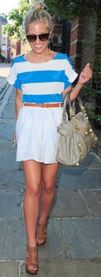 high belted skirt & a bright top... and can't forget a big bag