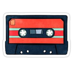 Red Cassette Tape art print Stickers by AnMGoug on Redbubble. #cassette #cassettetape #retro #sticker
