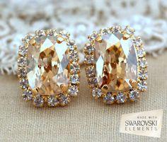 Champagne stud earrings Swarovski Stud earrings Bridal by iloniti
