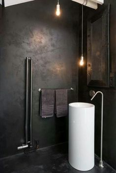 25 Stunning Industrial Bathroom Design Ideas : Industrial designed bathroom are very popular these days. In this post we have gathered a collection of 25 stunning industrial bathroom design ideas. Industrial Bathroom Design, Bathroom Interior, Modern Bathroom, Industrial Style, Bathroom Sinks, Vintage Industrial, Cement Bathroom, Black Bathrooms, Industrial Kitchens