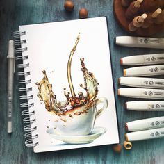 Illustrations of Food Art Architecture and More Coffee by Katerina Brovka Copic Marker Art, Copic Art, Sketch Markers, Copic Markers, Hidrocor, Copic Drawings, Alcohol Markers, Food Drawing, Drawing Faces