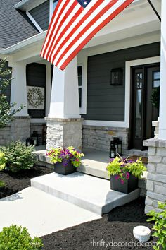 The exterior of our modern Craftsman home! The exterior of our modern Craftsman home! The exterior of our modern Craftsman home! The exterior of our modern Craftsman home! Modern Exterior, Modern Craftsman, House With Porch, House Front, House Exterior, Porch Design, Exterior Design, Craftsman House, Craftsman Exterior