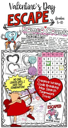Creative writing, code breaking, I Love You from around the world, and Trivia are the keys needed well, along with a combination. to save Valentines Day and Escape Cupids Valentine Factory! Kids will love this latest escape adventure! Ela Classroom, Middle School Classroom, Critical Thinking Activities, Classroom Activities, Teaching Language Arts, English Language Arts, Elementary Teacher, Upper Elementary, Valentines Day Activities