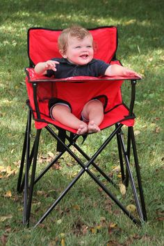 PORTABLE HIGH CHAIR! Oh my goodness- this is the best invention EVER! It's perfect for picnics, camping, traveling, or even just for visits to grandma's house. It even comes with a carrying case. Best thing we ever bought. Wish I had it for my first 3 kids. {aff}
