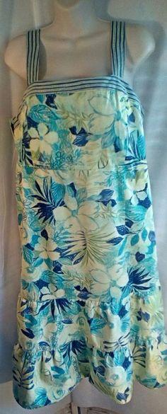 R&K Originals Woman 18 W Hawaiian Sun Dress Floral Smocked Back Cruise Vintage #RKOriginals #Sundress #Everyday