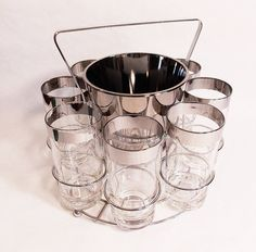 Dorothy Thorpe High ball Glasses Drink caddy ...who remembers these beautiful glassware sets?  Screaming 60s!