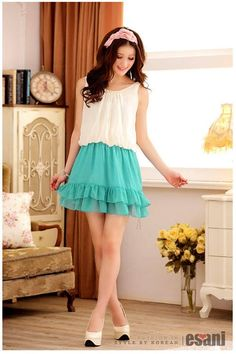 Sky Blue Chiffon Romantic Dress Korean Fashion