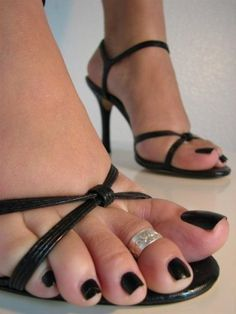 dark polish & toe ring...