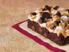Rocky road brownies. Sub peanuts for drizzled caramel topping