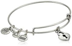 """Alex and Ani Bangle Bar """"Key To My Heart"""" Rafaelian Silver-Tone Expandable Bracelet. Handmade bangle bracelet crafted from recycled materials featuring heart-key pendant and three stamped Alex and Ani charms. Domestic."""