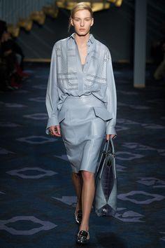 Tod's F/W 2014, light blue leather shirt, assorted pencil skirt, tote bag, shiny black mocassins