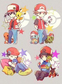 Trainers with starters Pokemon Red, Pokemon Pins, Pokemon Images, Cute Pokemon, Charmander, Pikachu, Pokemon Trainer Costume, Pokemon Special, Geek Games
