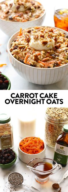 A full serving of veggies at breakfast? These carrot cake overnight oats will give you just that plus all of the delicious flavors of carrot cake! full serving of veggies at breakfast? These carrot cake overnight oats will give Clean Eating Breakfast, Healthy Breakfast Recipes, Clean Eating Recipes, Healthy Recipes, Breakfast Cake, Breakfast Casserole, Healthy Brunch, Breakfast Ideas, Brunch Recipes